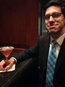 Aaron Aiken enjoying a Manhattan at the Hilton in Harrisburg