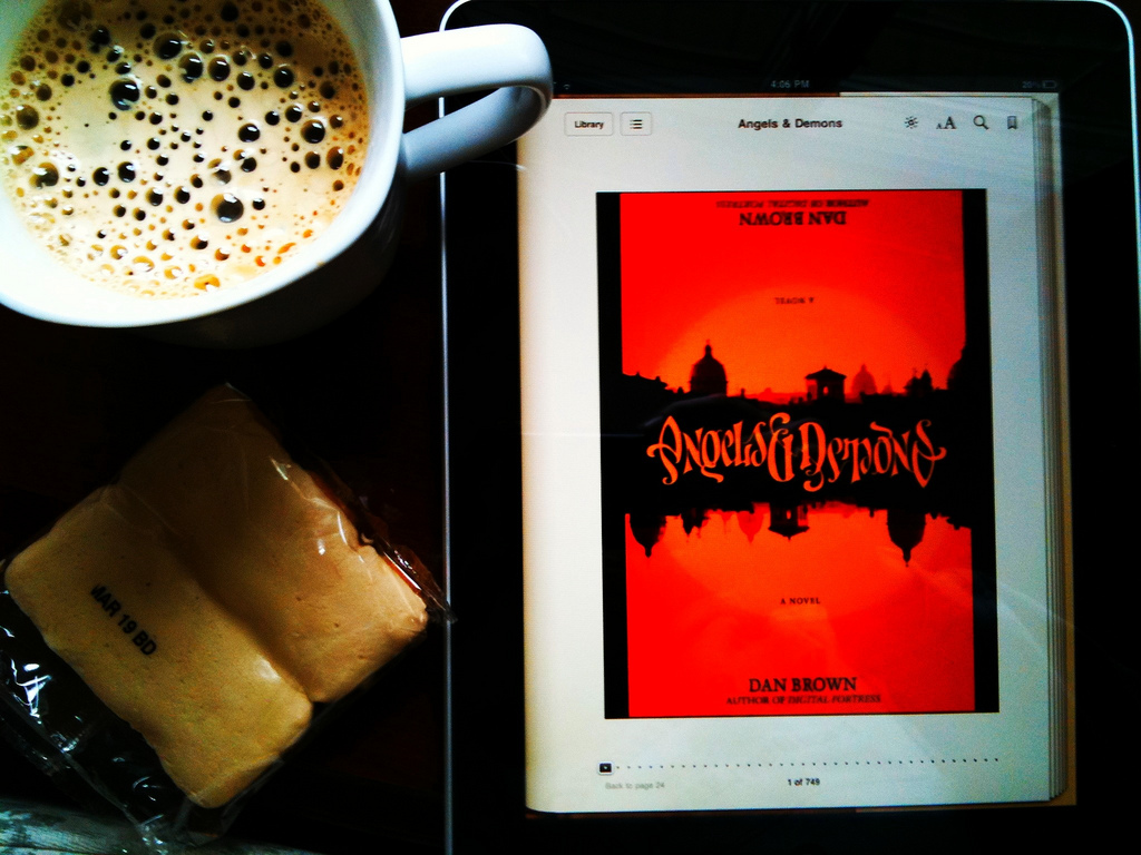 Reading Angels and Demons on my iPad