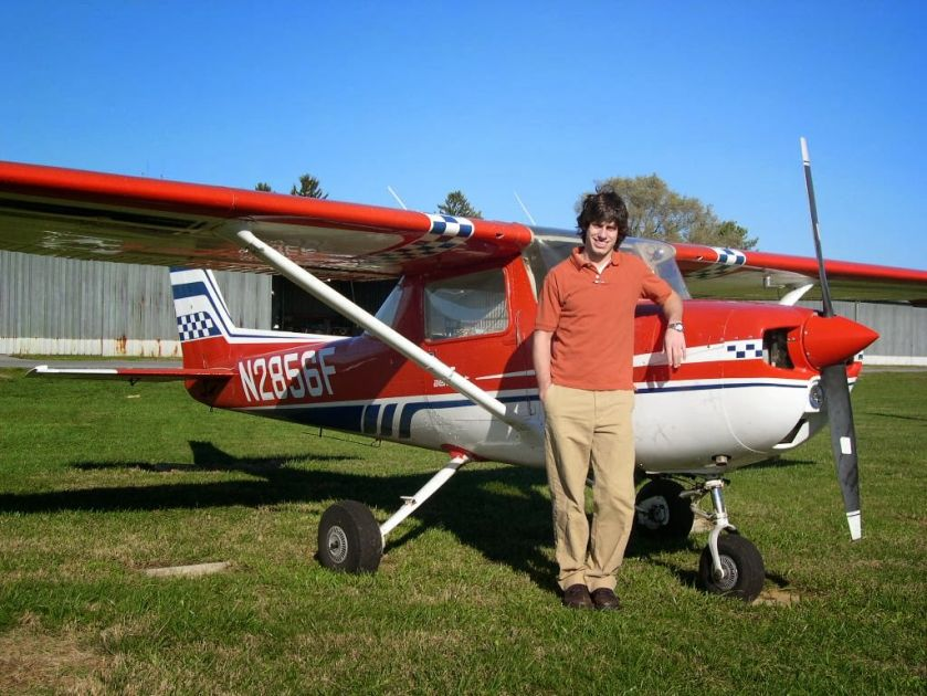 Aaron Aiken in 2005 Next to the Cessna 150 he Flew for 49 hours.