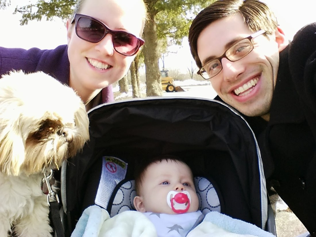 Family walk with Lindsay, Lucy, Mozzie, and me.