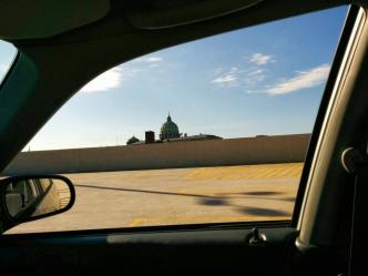 Pennsylvania Capital Building through the window of my Honda Civic