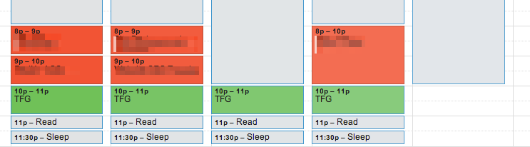 "My typical weekly calendar showing 11:30pm as ""bed time"""